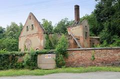 Hausruine in   Pieszyce / Peterswaldau - das Grundstück ist von einer alten Ziegelmauer abgegrenzt, vom Haus stehen nur die Außenmauern und der hohe Schornstein.