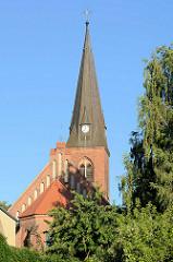 Kirchturm der Pfarrkirche / Friedenskirche in Finow / Eberswalde.