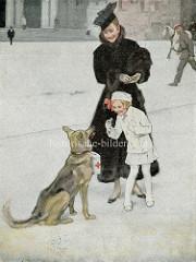 Werbung für das Deutsche Rote Kreuz - Schäferhund mit Spendendose, Dame im Pelz - ein Kind gibt freudig eine Münze.