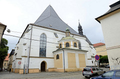 Kirche der Unbefleckten Empfängnis Mariä in  der Straße Sokolska von Olmütz / Olomouc; spätgotische Kirche, ursprünglich als Klosterkirche der Franziskaner Barfüssler genutzt.