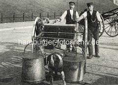 Historische Bilder aus der Hansestadt Hamburg -  Zwei Milchhändler führen ihren Milchkarren an denen Milchkannen hängen - ein Arbeitshund ist als Zugtier angekettet.