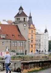 Blick über die kanalisierte Morava in Olomouc / Olmütz zur evangelischen Kirche der Böhmischen Brüder, geweiht 1920 - Baumeister Jan Komrska.