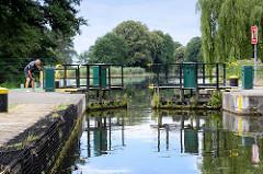 Schleusenkammer der Schleuse Leesenbrück am Finowkanal - die Schleusenkammer hat eine Länge von 41 m und einen Hub von 2,50 m.
