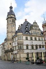 Rathaus am Marktplatz von Altenburg. Das Gebäude ist eines der bedeutendsten Renaissance-Rathäuser Deutschlands und wurde zwischen 1561 und 1564 errichtet - Architekt  Nikolaus Gromann.
