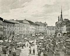Historische Aufnahme vom Marktplatz in Olmütz / Olomouc - eine große Anzahl Pferdefuhrwerke sind auf dem Platz abgestellt - Markthändlerinnen  stehen an der  Dreifaltigkeitssäule / Sloup Nejsvětější Trojice.