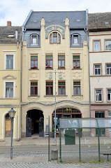 Denkmalgeschützte Jugendstilgebäudes an der Wallstraße in Altenburg; errichtet 1905 - Architekt Karl Zimmermann.