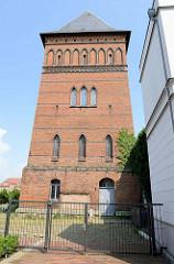 Historischer Wasserturm in der Stadt Güstrow,  errichtet 1882 - Nutzung bis 1928; später zur Trocknung von Feuerwehrschläuchen verwendet.