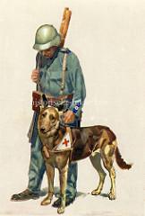 Schweizer Sanitätshund vom Roten Kreuz - Schäferhund und Sanitäter mit Helm.