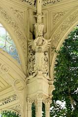 Aufwändig verzierte Eisenkonstruktion / Dachkonstruktion Parkcolonnade / Gartenkolonnade in Karlsbad / Karlovy Vary.