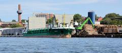 Frachtschiff am Hafenkai an der Neuen Hafensstraße in Lübeck - die Ladeklappen sind geöffnet - an Land liegen Stapel mit Baumstämmen.