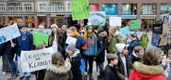 Fridays for Future - Demo in Hamburg - 01.03.2019. Schilder mit den Forderungen / Slogans: Skolstrejk för Klimatet - The time is running.