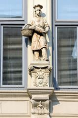 Bäckerjunge mit Brotkorb und Brotlaib - Skulptur an der Hausfassade einer ehem. Bäckerei beim Nordermarkt in Flensburg.