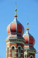 Türme der Großen Synagoge in Pilsen / Plzeň; maurisch-romanischer Baustil, 1893 fertig gestellt - Architekt Emanuel Klotz.