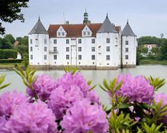 Blick über den Schloßteich zum Schloß Glücksburg. Das Renaissanceschloß  ist eine der bekanntesten Sehenswürdigkeiten Schleswig-Holsteins - im Vordergrund blüht der Rhododendron.