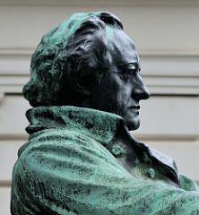 Das Wiener Goethedenkmal wurde von Edmund von Hellmer entworfen und 1900 enthüllt. Der Dichter ist in einem bronzenen Prunksessel sitzend dargestellt und blickt auf die BetrachterIn  herab.