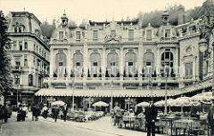 Alte Fotografie vom Grandhotel / Café Pupp in Karlsbad; neobarocker Prachtbau - Hotel mit 228 Zimmern, Architekten  Ferdinand Fellner und Hermann Helmer.
