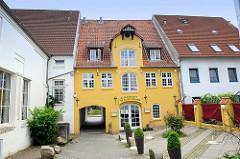 Altes Speichergebäude in der Straße Speicherlinie in Flensburg - jetzt Nutzung als Restaurant.