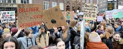 Fridays for Future - Demo in Hamburg - 01.03.2019. Schilder mit den Forderungen / Slogans: Es ist billiger, den Planeten jetzt zu schützen als später zu reparieren - Make earth cool again!