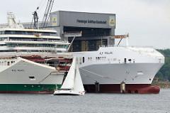Schiffsbug von der Alf Pollak und W.B. Yeats auf der   Förde vor den Werfthallen der Flensburger Schiffbaugesellschaft; ein Segelschiff gleitet im Wind auf dem Wasser.