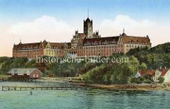 Historische, kolorierte Ansicht der Marineschule Flensburg - Mürwik; errichtet 1910 - Architekt Baurat Adalbert Kelm.