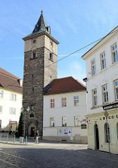 Historischer Wasserturm / Cerna Vez, Schwarzer Turm in der Straße Pražská von Pilsen / Plzeň.