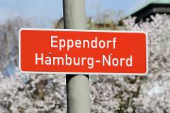 Stadtteilschild - Stadtteilgrenze Eppendorf, Hamburg-Nord.