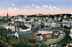 Historisches Panorama von Flensburg - colorierte Ansicht, Blick über die Flensburger Förde.