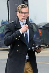 Rechte Kundgebung - Motto Michel, wach endlich auf. Rostocker Afd-Politiker Johannes Salomon hält seine Rede.