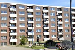 Bilder aus dem Hamburger Stadtteil Billbrook - Wohnunterkunft / Siedlung am Billbrookdeich, Billestieg.