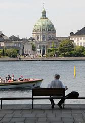 Hafenpromanade in Kopenhagen - Blick auf die Frederikskirche / Marmorkirche.