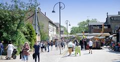 Freistadt Christiania, alternative Wohnsiedlung in Kopenhagen. Das Gebiet von Christiania besteht aus ehemaligen Kasernen, die 1971 besetzt wurden. Blick auf die sogenannte Pusher Street ('Dealer-Straße'), in der an Buden öffentlich Cannabis verkauft