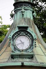 Detailbilder der Architektur Wiens - Kupferdach / Uhr, Wettersäule im Stadtpark.