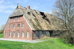 Leerstehendes bäuerliches Anwesen am Elbdeich in Hamburg Kirchenwerder - das Reetdach ist teilweise eingestürzt.