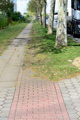 Fotos von Hamburgs Stadtteil Billbrook, Bezirk Hamburg Mitte - ehemaliger Radweg   im Gewerbegebiet an der Bredowstraße. Der Fahrradweg ist  wurde lange Zeit nicht gereinigt und ist mit Gras überwuchert und somit unbenutzbar.