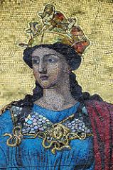 Detailbilder der Architektur Wiens  - farbiges Mosaik, Frauendarstellung auf goldenem Grund.