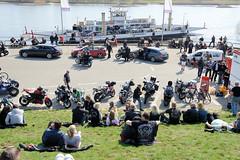 Die Zollenspieker Fähre legt am Anleger in Hamburg Kirchwerder an. Der Deich ist besetzt mit Motorrad- und Fahrrad-TouristInnen, die auf die Elbe blicken.