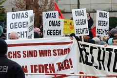 Demo gegen rechte Kundgebung in Hamburg - Hamburger Bündnis gegen Rechts - Transparente und Protestschilder, Omas gegen Rechts.