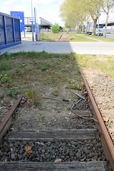 Fotos von Hamburgs Stadtteil Billbrook, Bezirk Hamburg Mitte - Bahngleise einer stillgelegten Bahnstrecke im Gewerbegebiet der Bredowstraße. Die Gleise sind teilweise verschüttet, eine Auffahrt überquert die Bahnanlage.