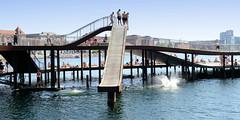 Badeanlage mit Holzrutsche im Hafen von Kopenhagen.