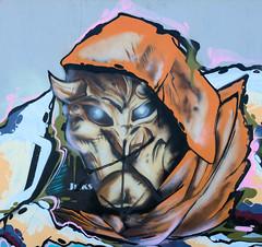 Bilder aus dem Hamburger Stadtteil Billbrook -  Graffiti an einer Mauer am  Billbrookdeich.