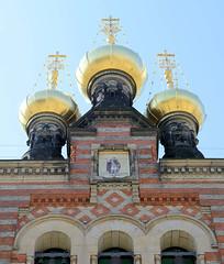 Goldene Zwiebelkuppeln der russisch-orthodoxen  Alexander-Newski-Kirche in Kopenhagen - geweiht 1883, Architekt David Ivanovich Grimm.