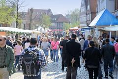 Frühlingsmarkt in der Alten Holstenstraße von Hamburg Bergedorf.