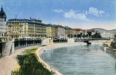 Altes coloriertes Bild vom Donaukanal in Wien.