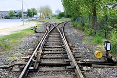 Fotos von Hamburgs Stadtteil Billbrook, Bezirk Hamburg Mitte -  Bahngleise / Weichen  der Industriebahn in der Bredowstraße.