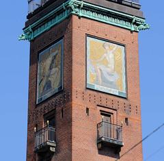 Mosaik / Bild Tag + Morgen am  Turm vom Palace Hotel an der Vester Vodgade in Kopenhagen; errichtet 1910 -  Architekt Anton Rosen.