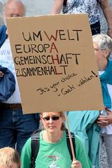 Demonstration Ein Europa für alle am 19.05.2019 mit   ca. 12 000 TeilnehmerInnen in der Hansestadt Hamburg. Pappschild mit der Aufforderung wählen zu gehen.