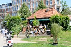 Bilder aus dem Hamburger Stadtteil Hoheluft Ost - Bezirk Hamburg Nord. Sommertag in Hamburg - Café am Lehmweg, Isebekkanal.
