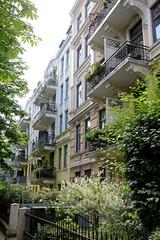 Fotos aus dem Hamburger Stadtteil Hoheluft West, Bezirk Hamburg Eimsbüttel. Etagenhäuser in der Mansteinstraße - erbaut 1905, Architekt Albert Lindhorst - die Gebäude stehen unter Denkmalschutz.