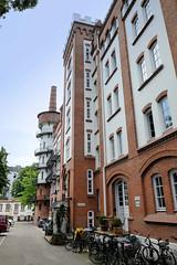Fotos aus dem Hamburger Stadtteil Hoheluft West, Bezirk Hamburg Eimsbüttel.  Fabrikanlage der ehem. Tabakfabrik in der Hoheluftchausse -  sie wurde 1910 errichtet  und steht unter Denkmalschutz - Architekt Gustav Schrader.