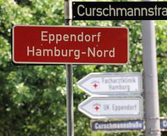 Fotos aus dem Hamburger Stadtteil Eppendorf - Bezirk Hamburg Nord; Stadtteilschild / Stadtgrenze an der Curschmannstraße.